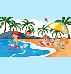 Children playing on beach vector