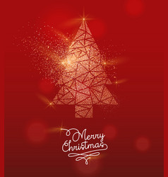 christmas gold glitter pine tree greeting card vector image