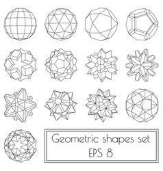 Collection of 13 3d geometric shapes vector