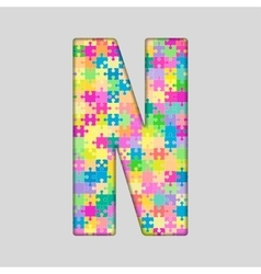 Color piece puzzle jigsaw letter - n vector