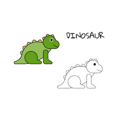 Coloring book dinosaur vector
