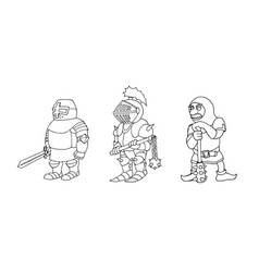 coloring page of cartoon three medieval knights vector image
