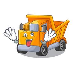 Crazy character truck dump on trash construction vector