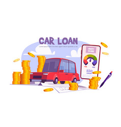 Credit score for car loan auto financing concept vector