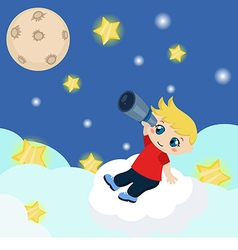 Cute boy watching through telescope at starry nigh vector image