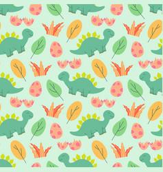 Cute dinosaurs pattern design as seamless vector