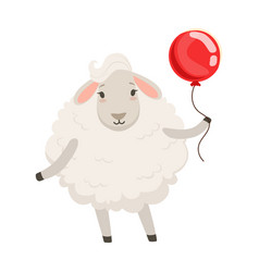 Cute white sheep character standing with red vector