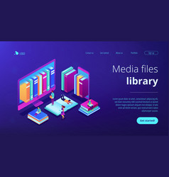 e-library isometric 3d landing page vector image