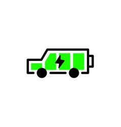 Electric car battery full logo icon vector