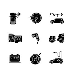Electric vehicle black glyph icons set on white vector