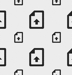 Export upload file icon sign seamless pattern with vector