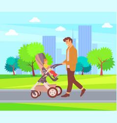 Father walking child in perambulator city walk vector