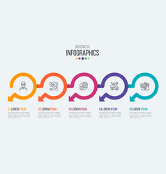five steps timeline infographic template with vector image