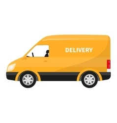 Flat icon cartoon yellow delivery truck vector