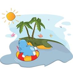 floating hippo near an island vector image