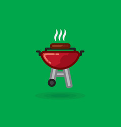 Fried meat smokes on vector
