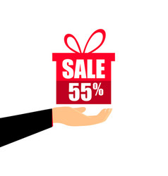 gift box on the hand with a 55 percent discount vector image