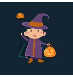 Girl in witch violet halloween disguise vector