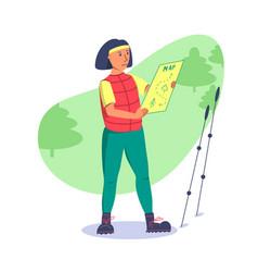 Girl is looking intently at orienteering map vector