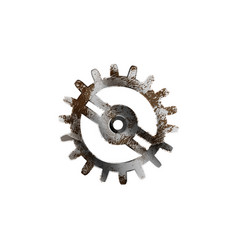 Glossy metal cogwheel with detailed rust isolated vector
