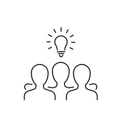 group people has an idea line icon vector image