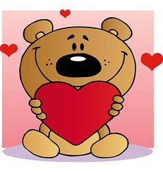 Happy Teddy Bear Holding A Red Heart vector image