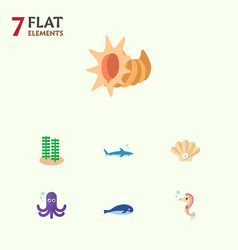 icon flat nature set of whale alga sea horse and vector image
