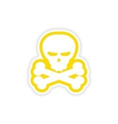 Icon sticker realistic design on paper skull bones vector