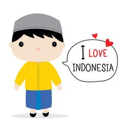 indonesia men national dress cartoon vector image