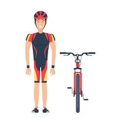 isolated icons of bicycle and cyclist on white vector image