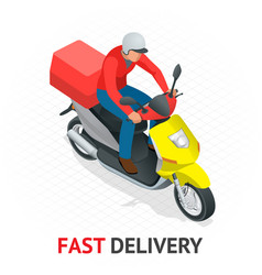 isomeric fast delivery concept delivery scooter vector image