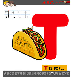 letter t educational worksheet with taco vector image