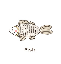 Lineart fish vector image