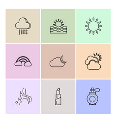 Lipstick rainbow sun ecology eco icons vector