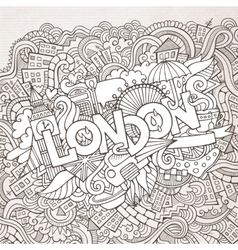 London hand lettering and doodles elements vector