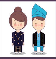Malaysia bride and groom cartoon wedding vector