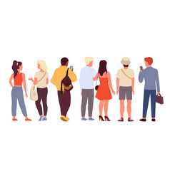 man woman set crowd of people backside view vector image
