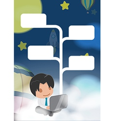 Man Work Cloud Night Float vector image