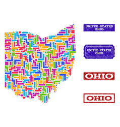 Mosaic map of ohio state and grunge stamps vector