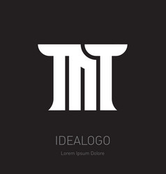 Mt - design element or icon m and t - initials vector