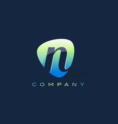 N letter logo oval shape modern design vector