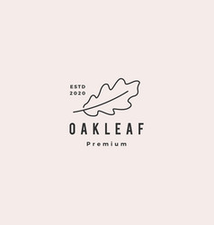 oak leaf logo hipster vintage retro icon vector image