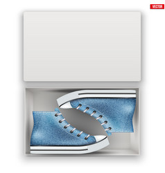 Opened shoe box with gumshoes vector