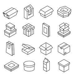 packing storage blank boxes icon line art vector image