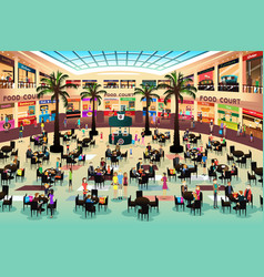 People eating in a food court vector