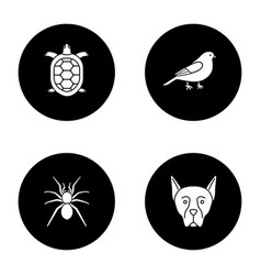 Pets glyph icons set vector