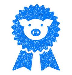 Pig award seal icon grunge watermark vector