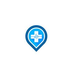 Pin medical logo icon design vector