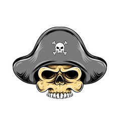pirates skull head with pirates hat for vector image