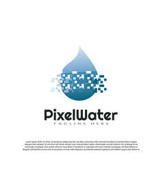 Pixel water logo with digital pixel concept vector